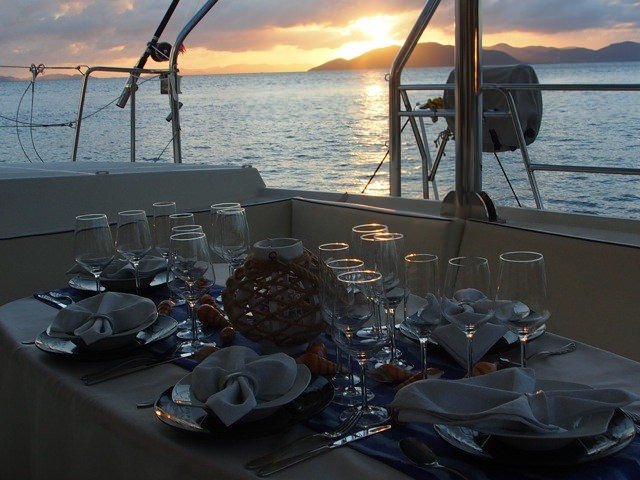 Dining on the aft deck