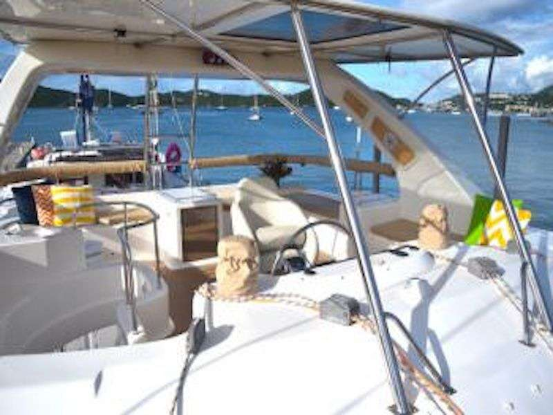 The flybridge is a favorite place for guest to enjoy the 360 views while under sail or enjoying the sunset. A cocktail fridge is convenient for drinks.