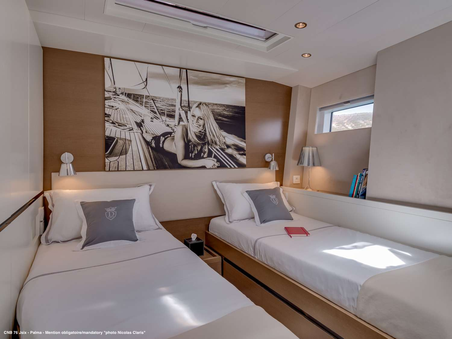 The starboard cabin convertible into two single beds
