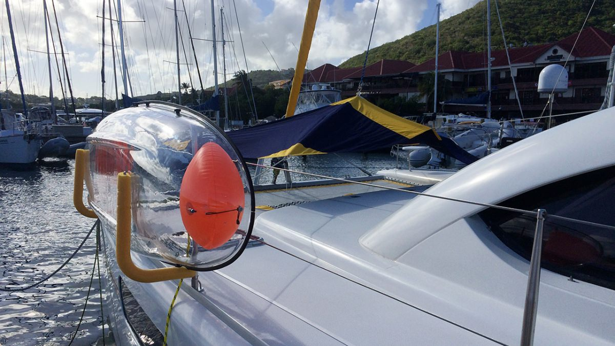 Foredeck with one of the clear kayaks