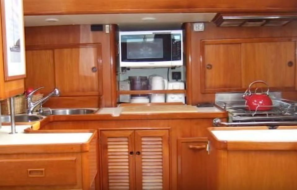 The galley features extra fridge and freezer space.