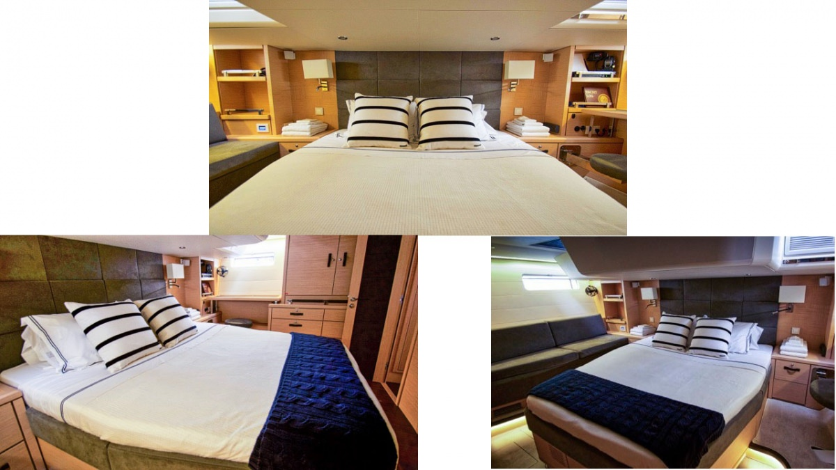 3 views of the aft master suite