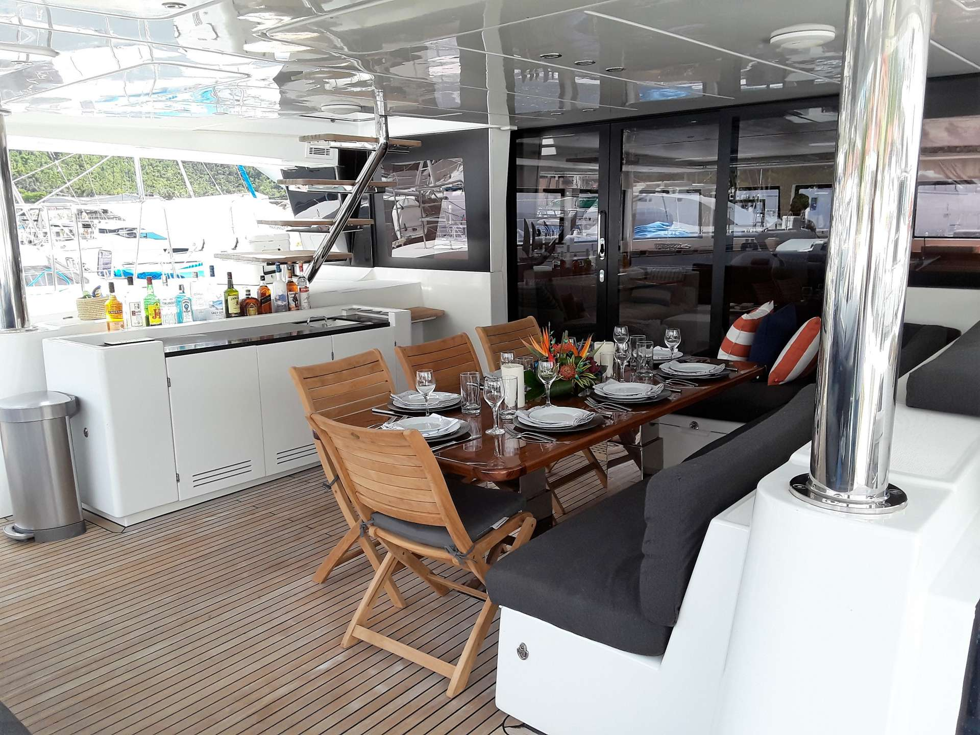 aft deck with wet bar