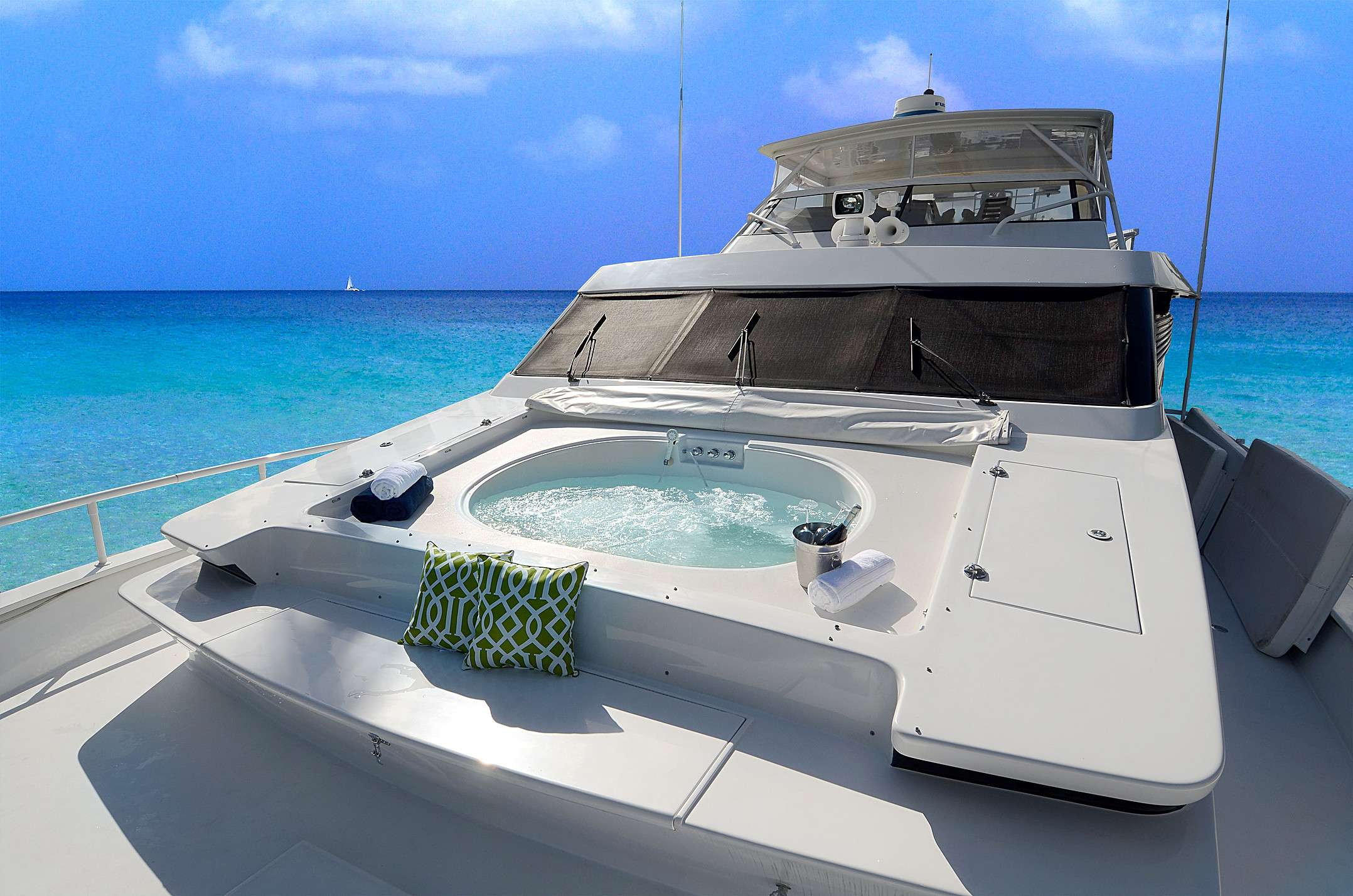 Front Deck/Bow has large sunpad and hidden sunken jacuzzi