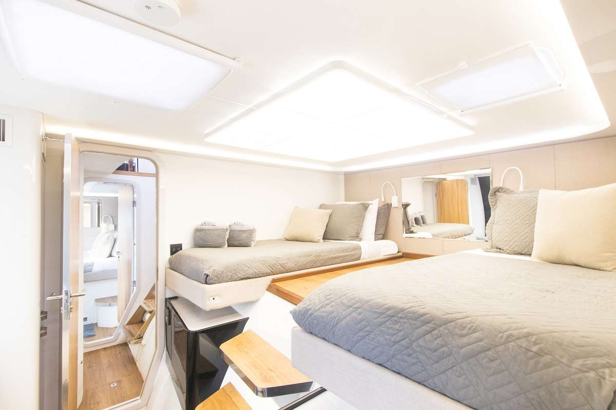 Seating in two forward guest cabins
