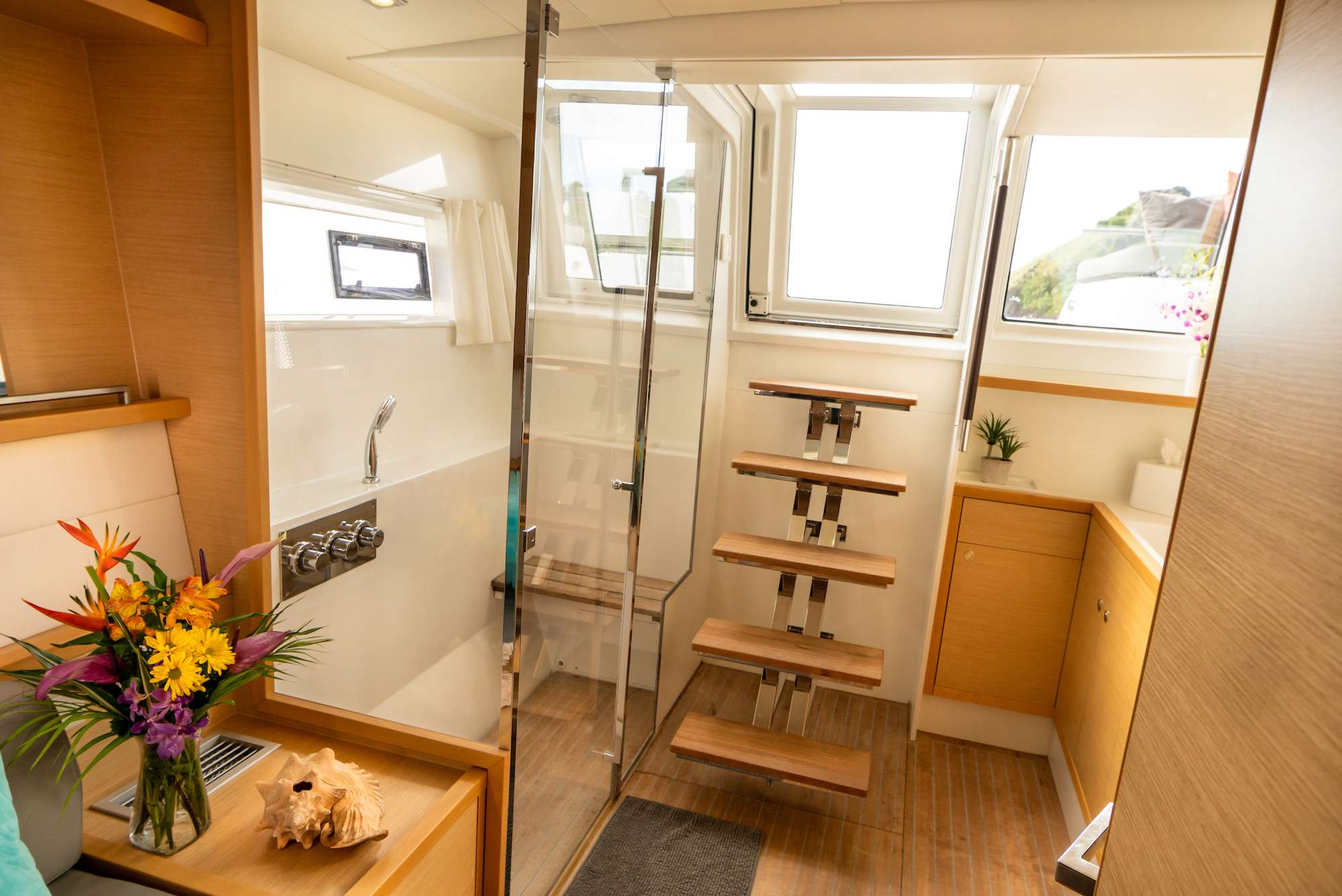 One of two queen guest cabins forward