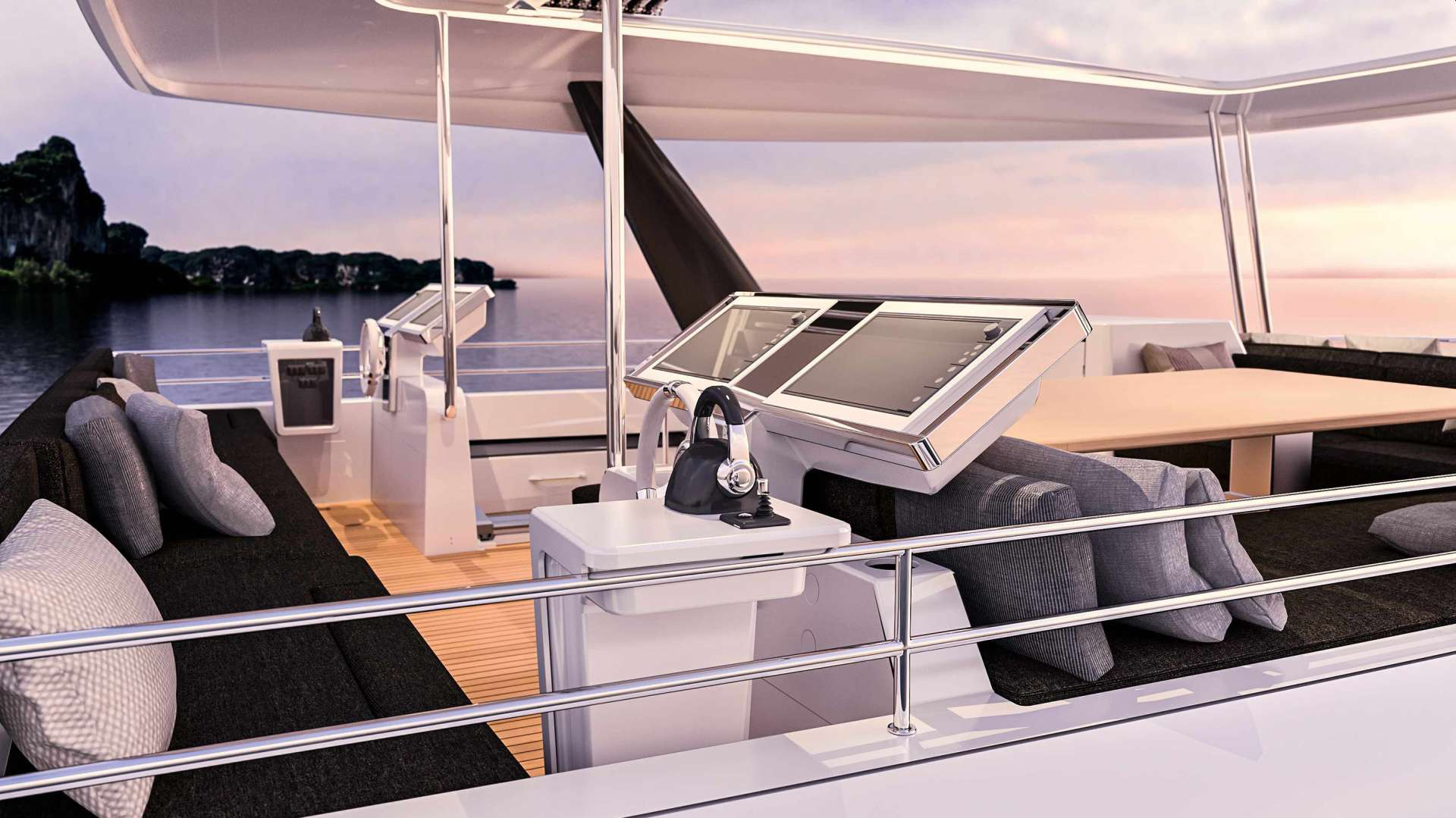 The flybridge and helm stations