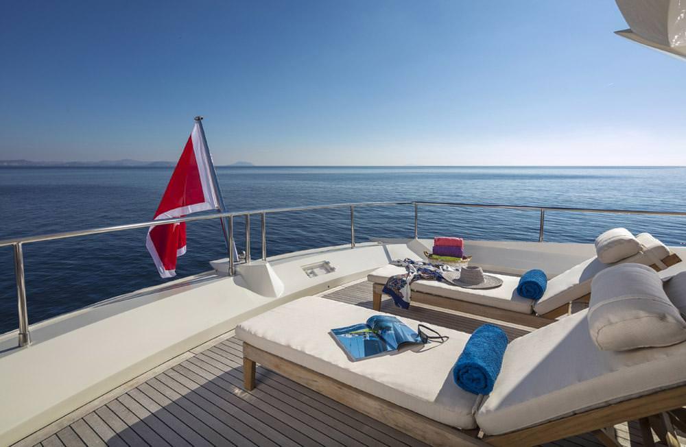 Sunbeds upper deck