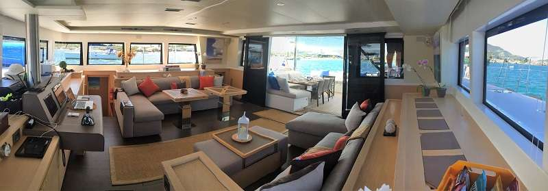 Spacious Salon with view to aft cockpit