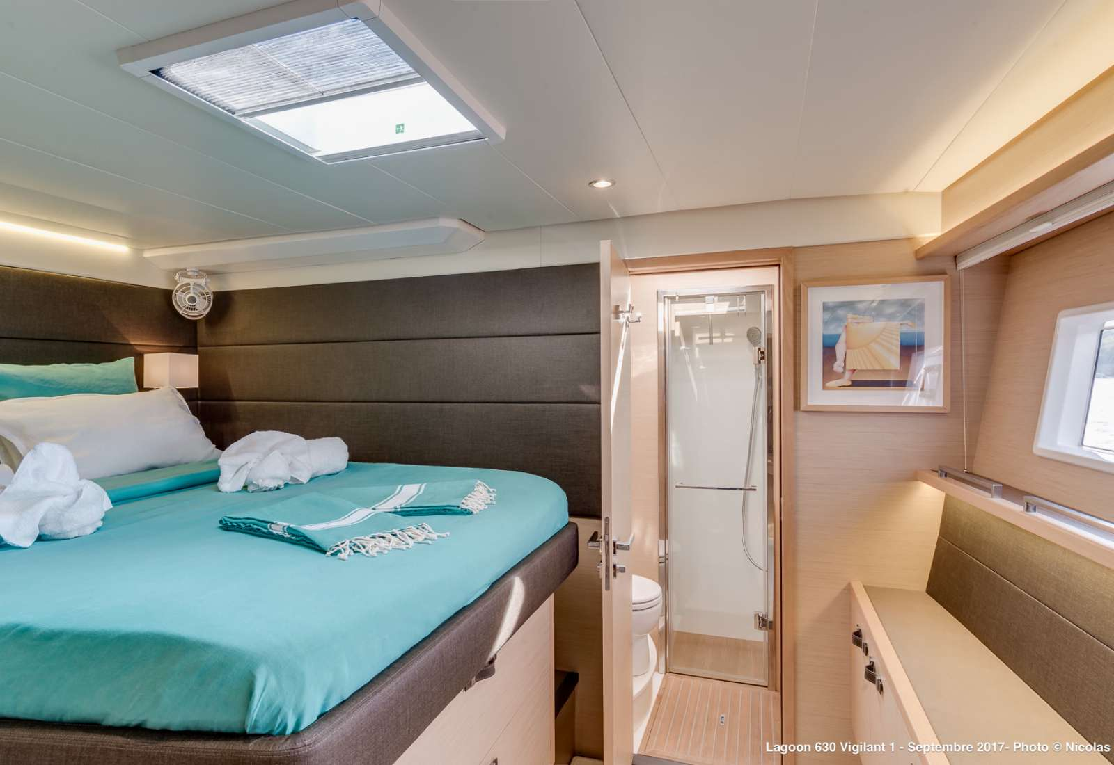 One of the 3 double bed cabins