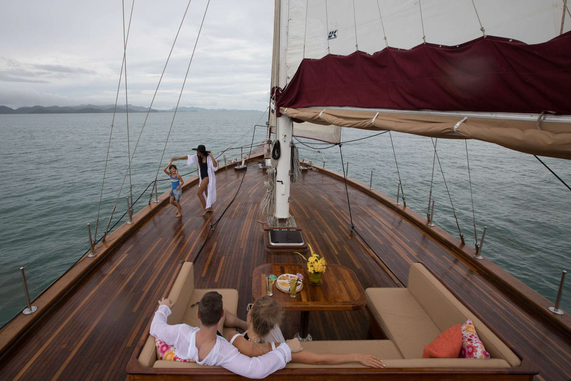 The deck can also be covered with removable water-proof awnings