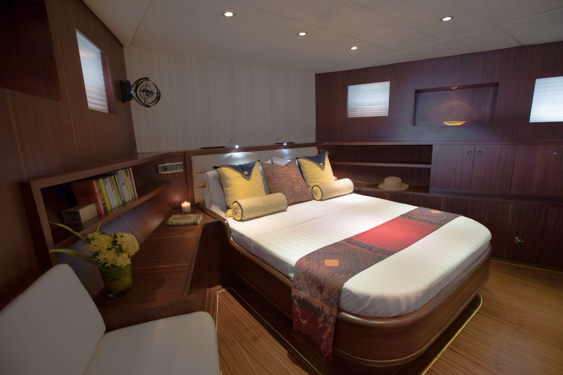 A spacious full-beam  master cabins with day sofa and en-suite facilities.