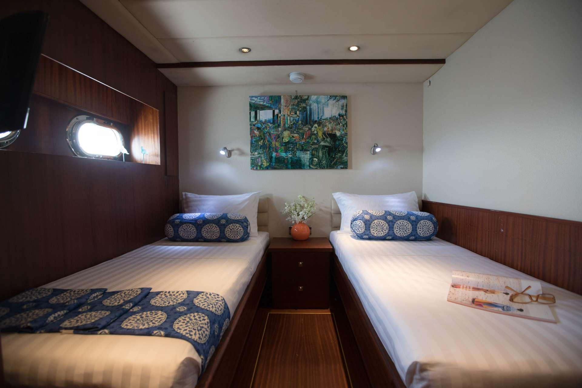 2 x  twin cabins with en-suite facilities.