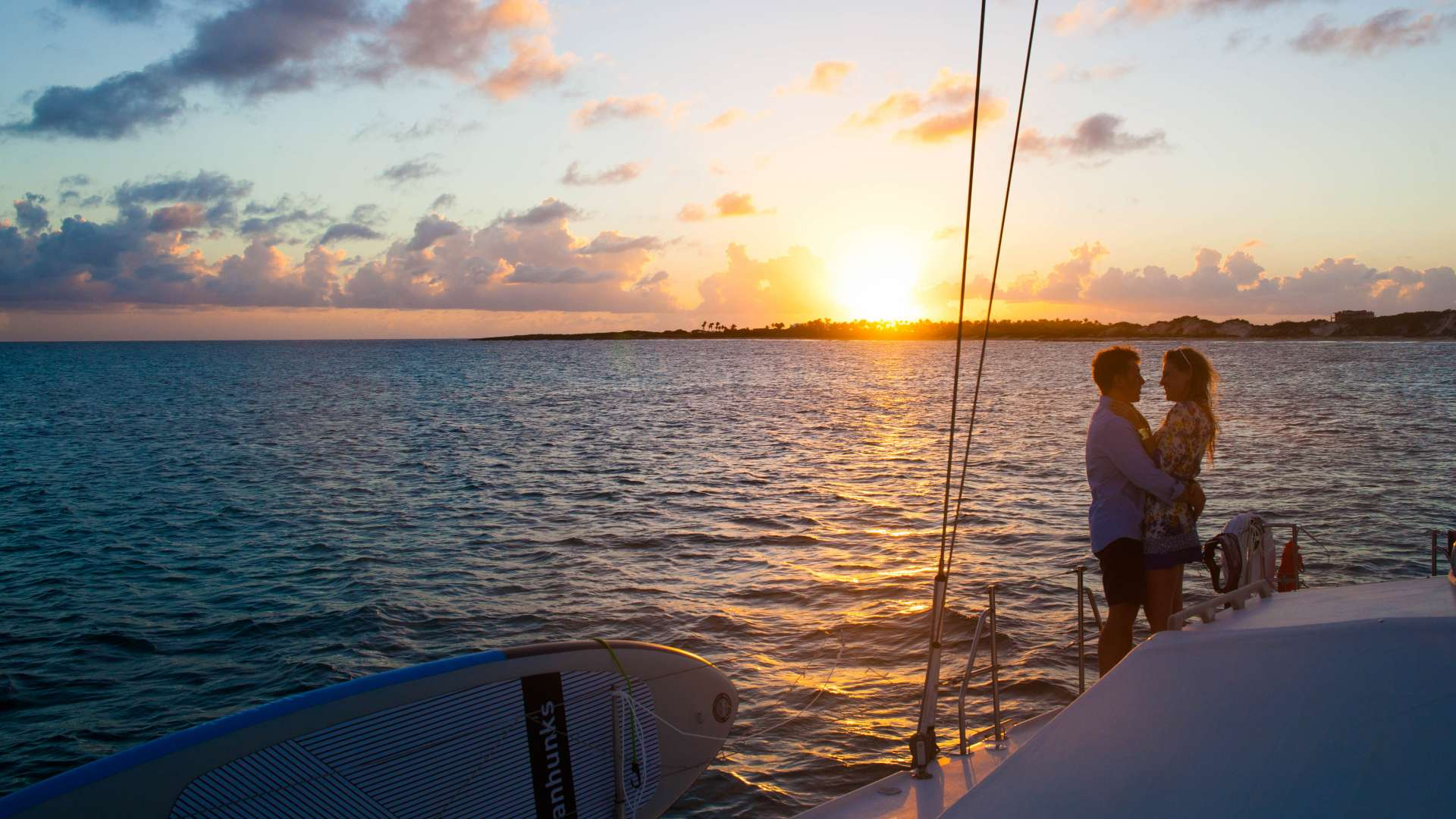 Sunset on the foredeck