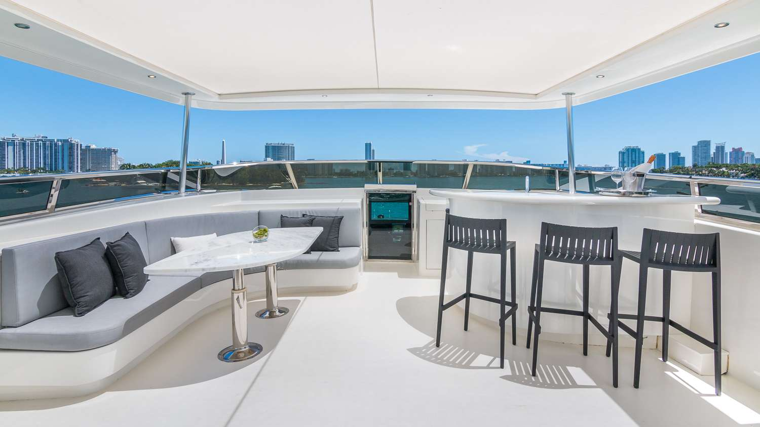 Flybridge Bow area with Table Seating and Bat