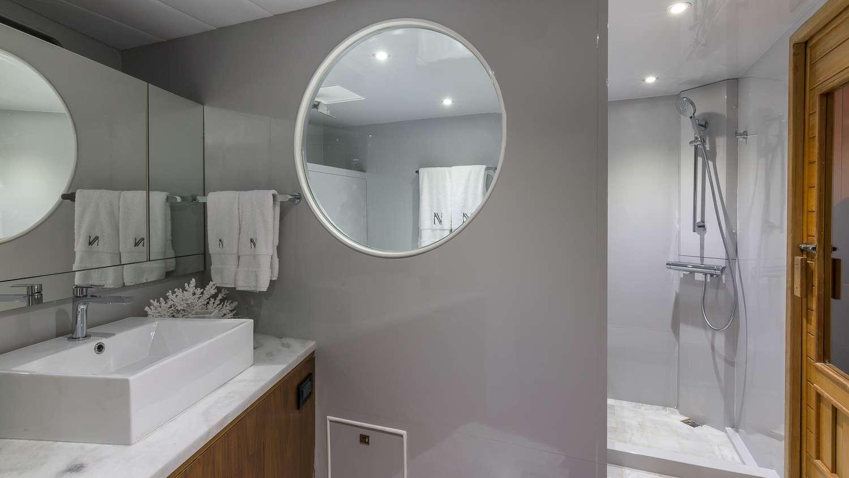 Master Stateroom Bathroom with Tub and Sauna