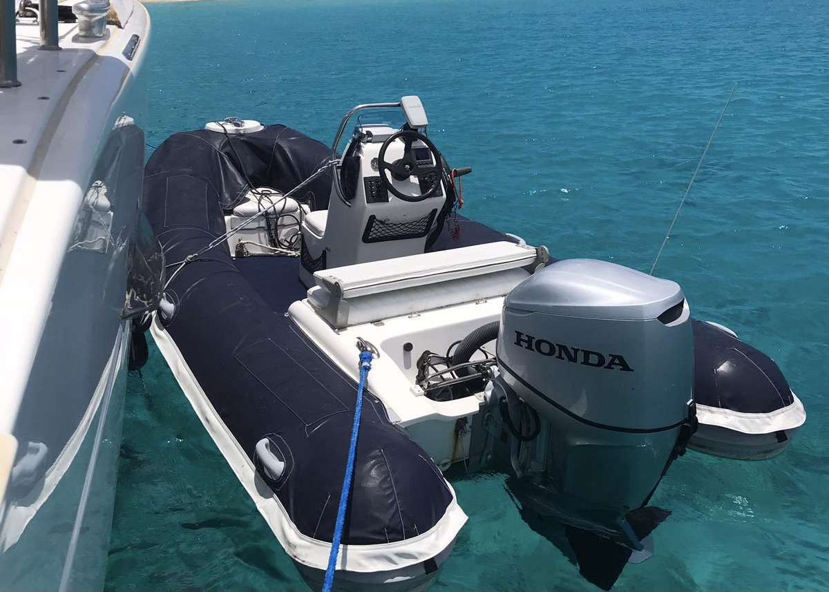 Great dinghy with 60hp motor to load up for snorkeling excursions, beach time or for fast speed watersports