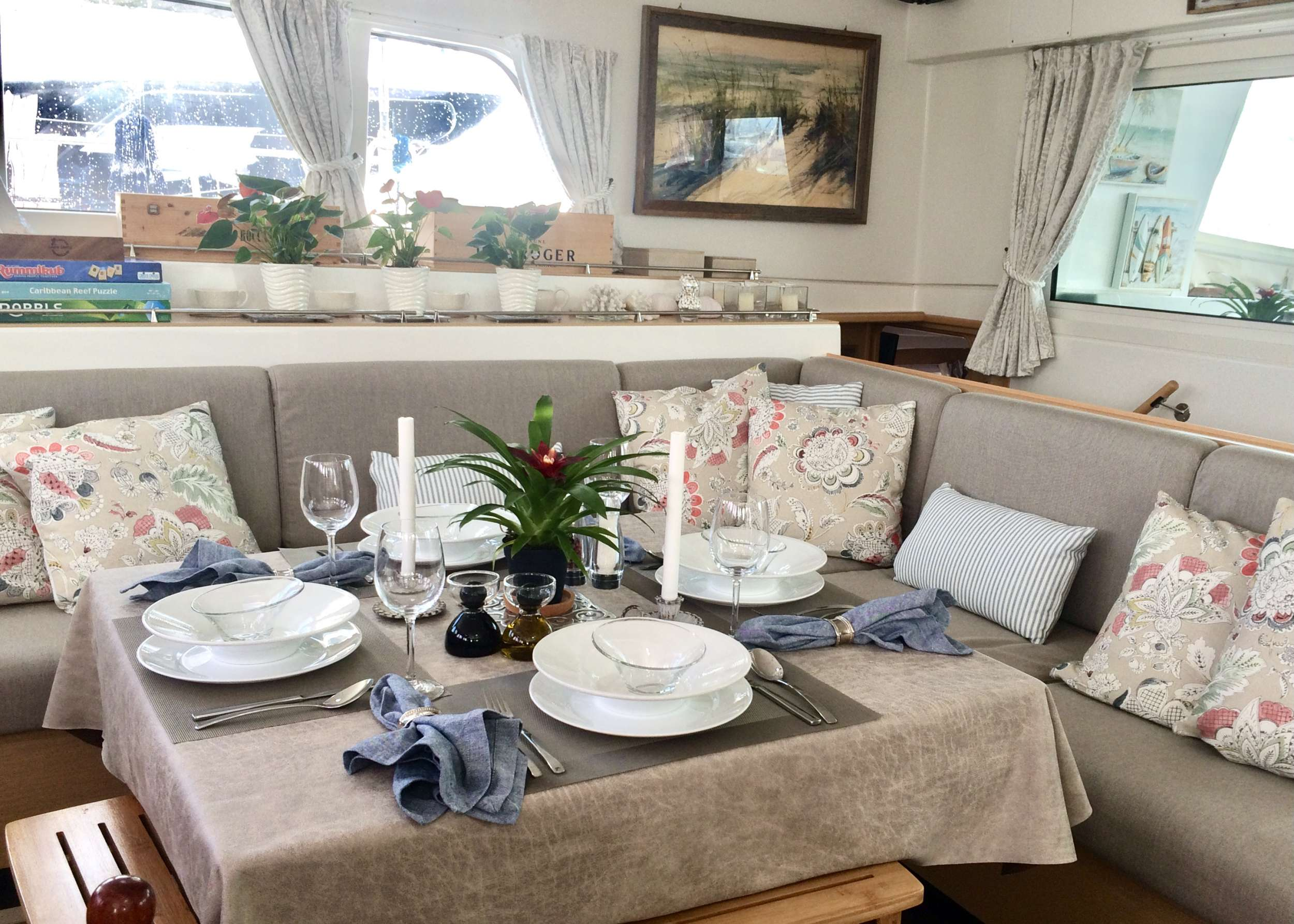 Formal dining inside, or as a casual table for games and activities