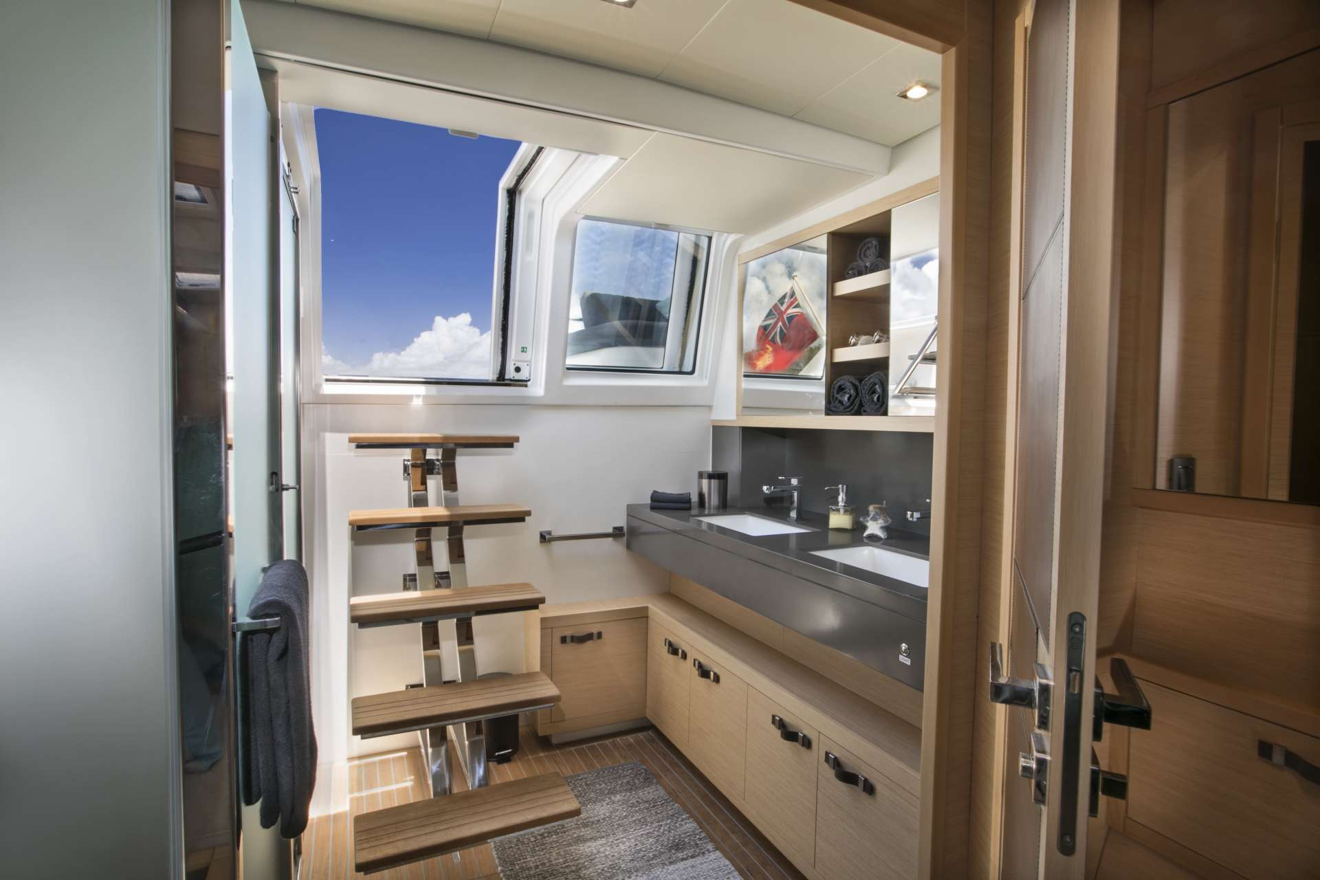 Master cabin with his & hers vanity sink area