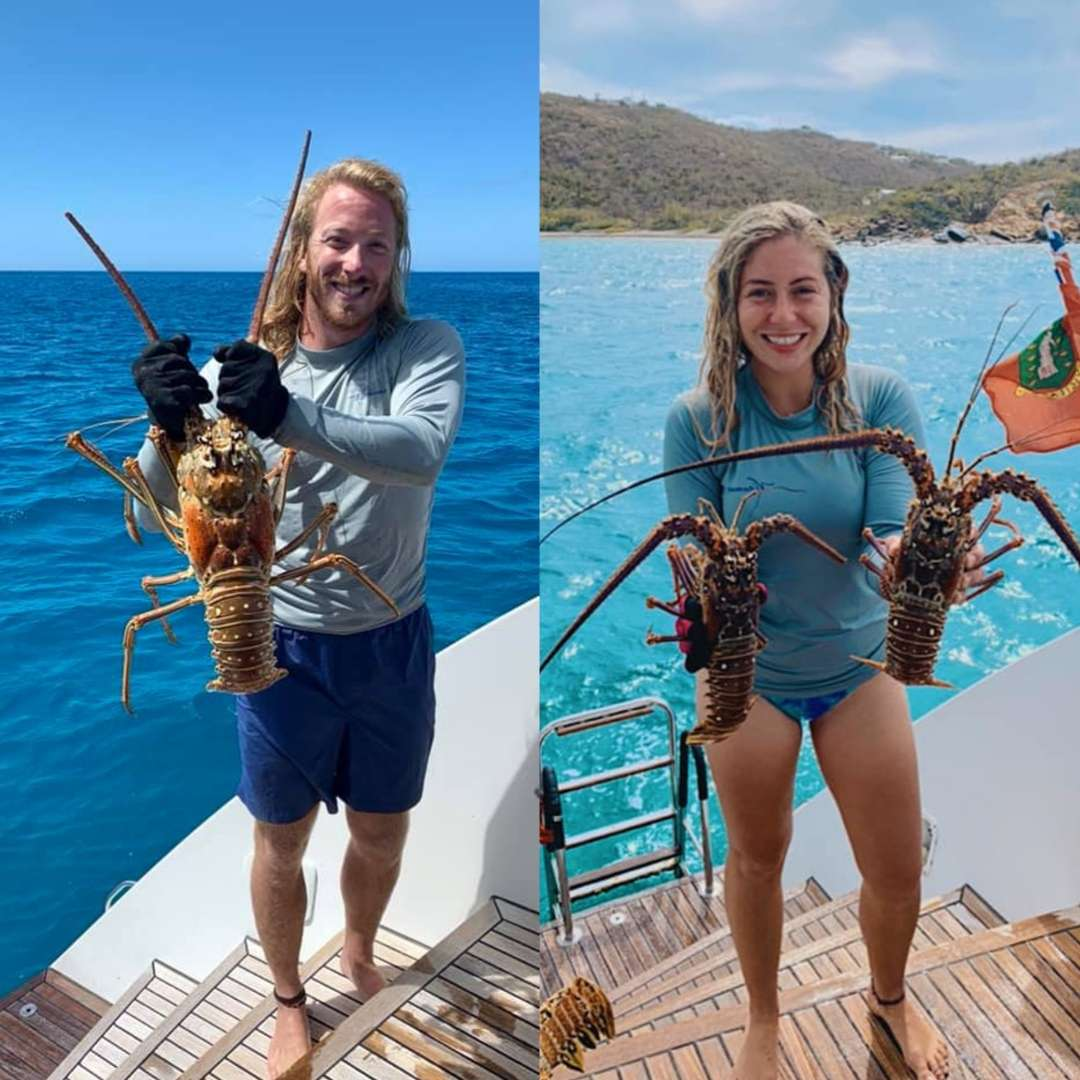 Both love lobstering in the USVI + grilling up the fresh catch for guests!