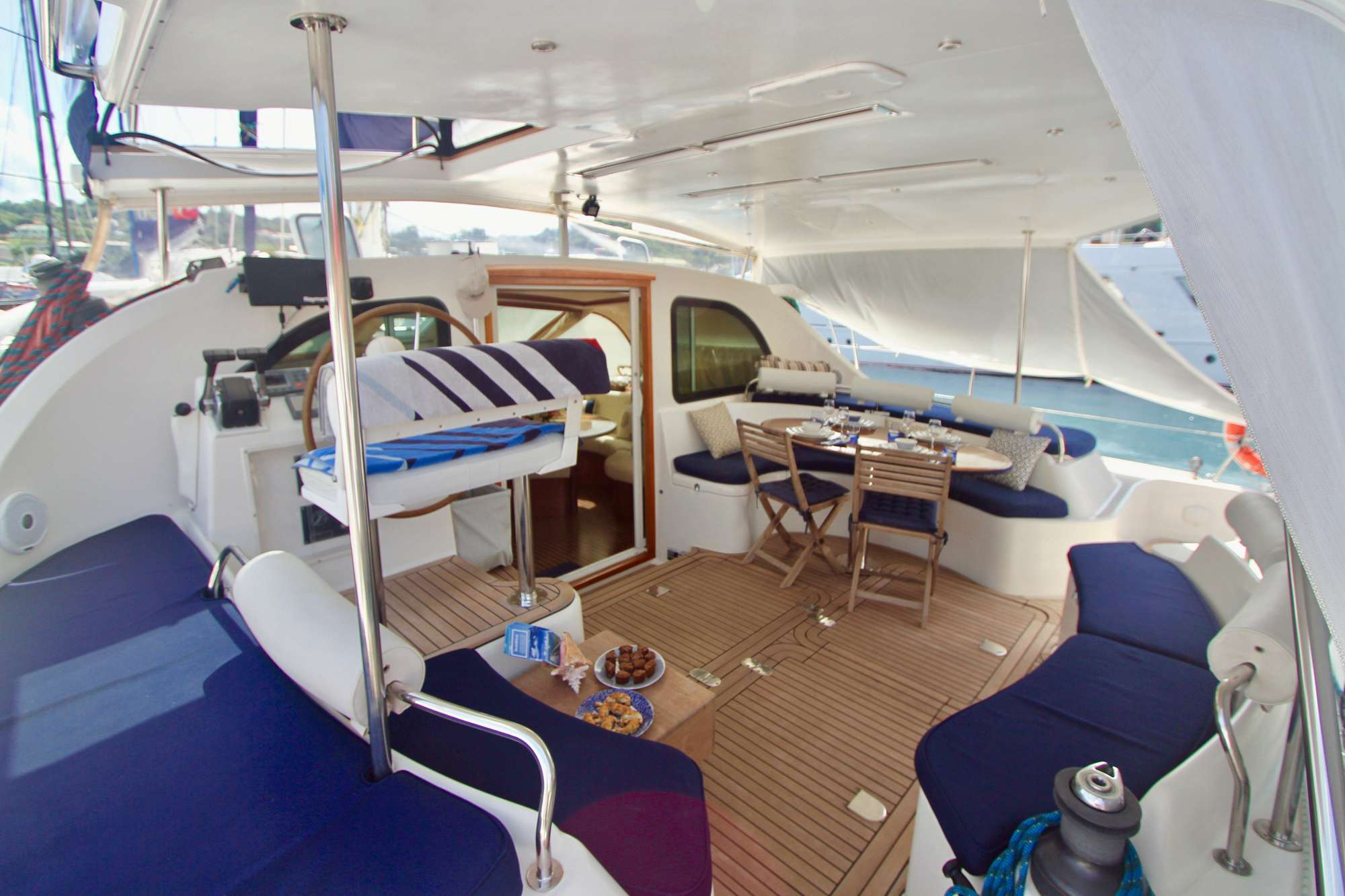 Aft Deck Dining with sun shades