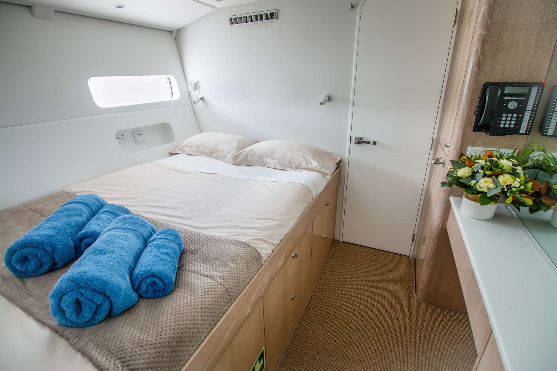 Guest queen cabins have fine linens