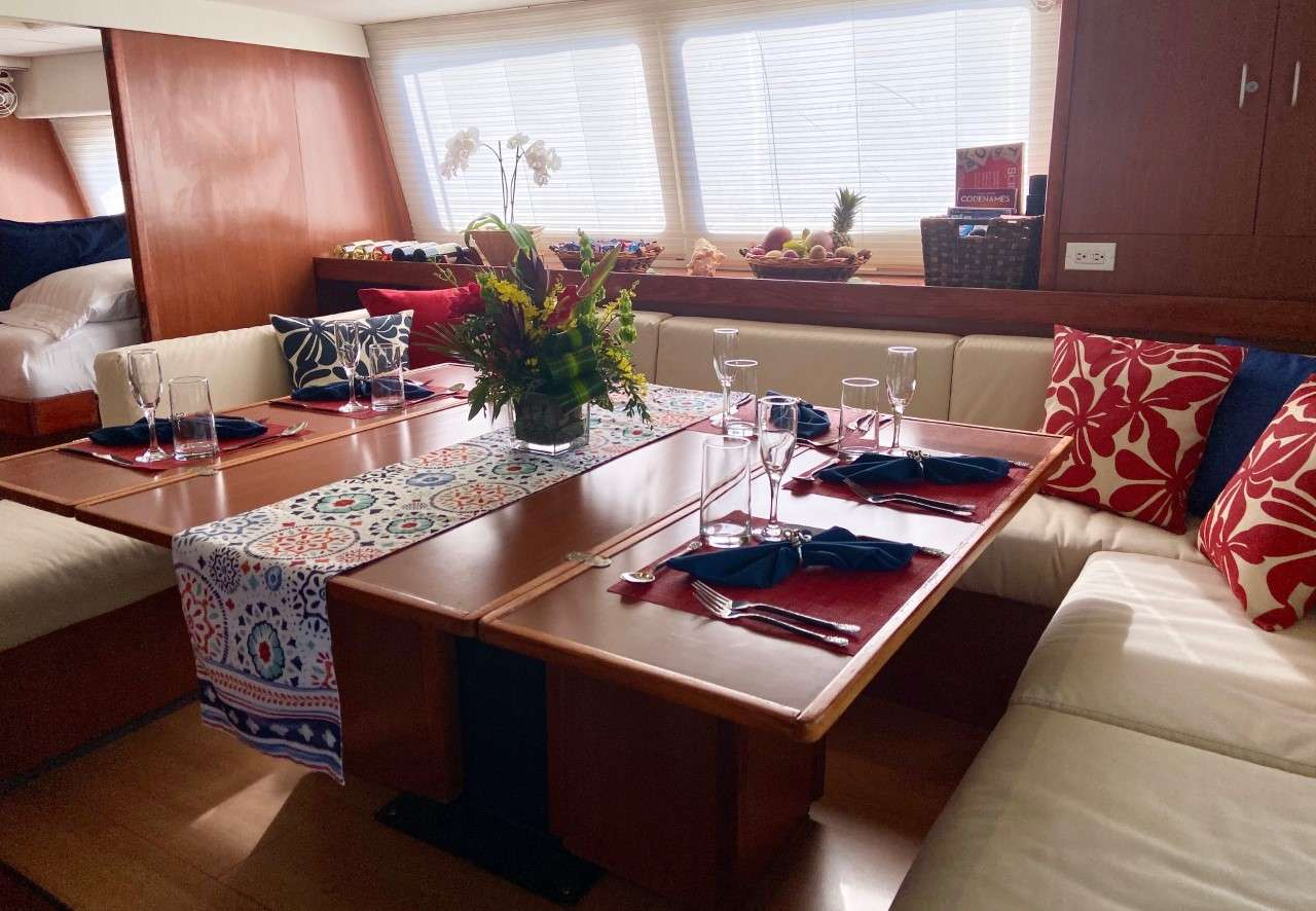Two staterooms are accessible from the salon.