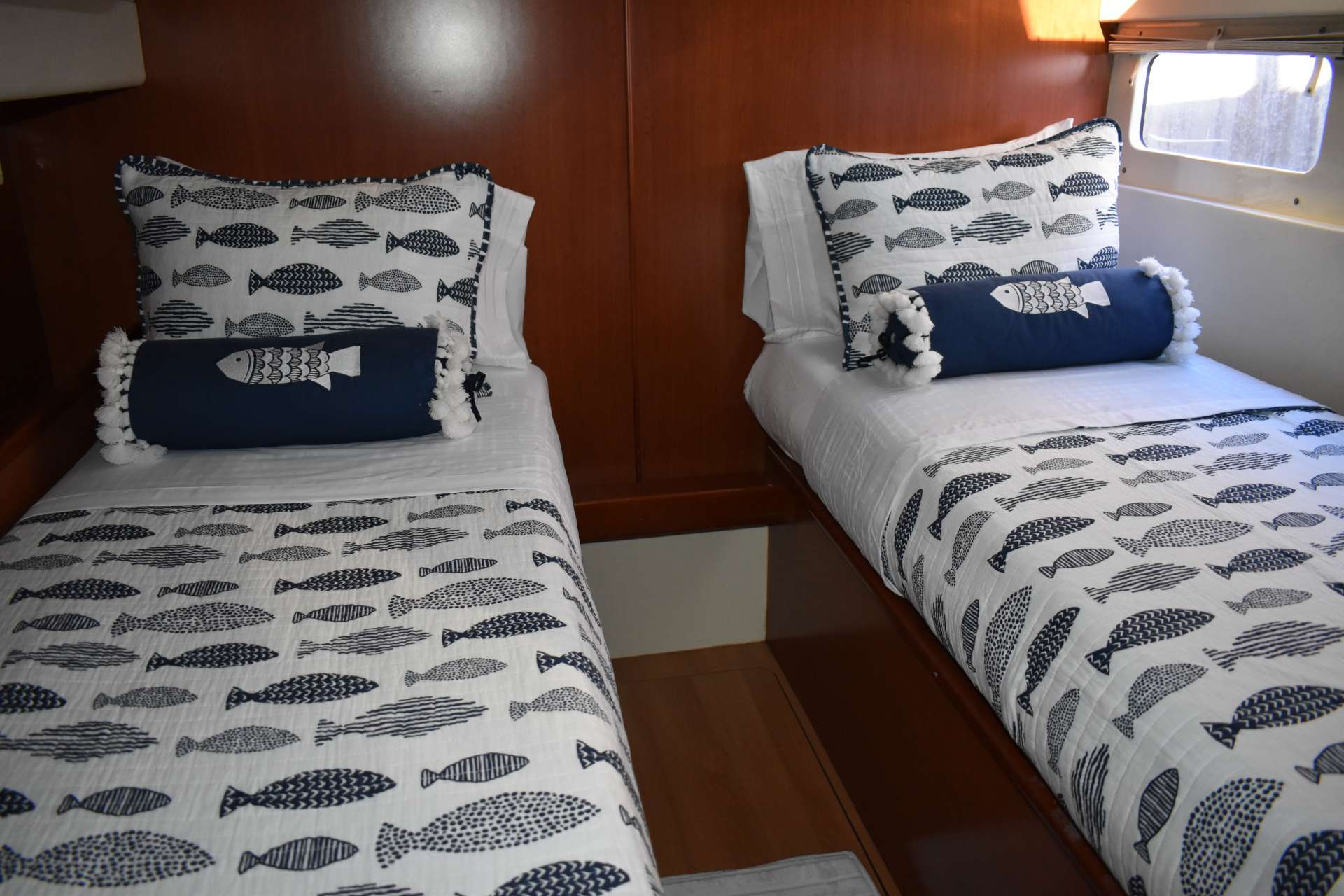 Crew cabin with two twin beds which can be made available to guests upon request. Crew will occupy port forward stateroom.
