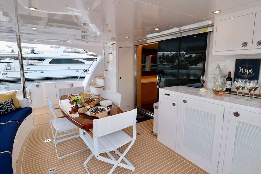 Dine alfresco on the aft deck