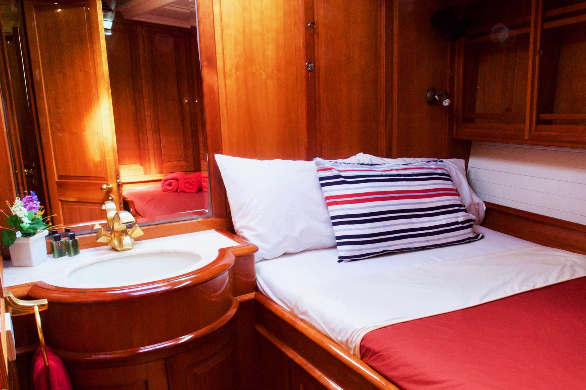 two beautifully finished guest cabins - one with a double bed and the other with 2 twin beds.