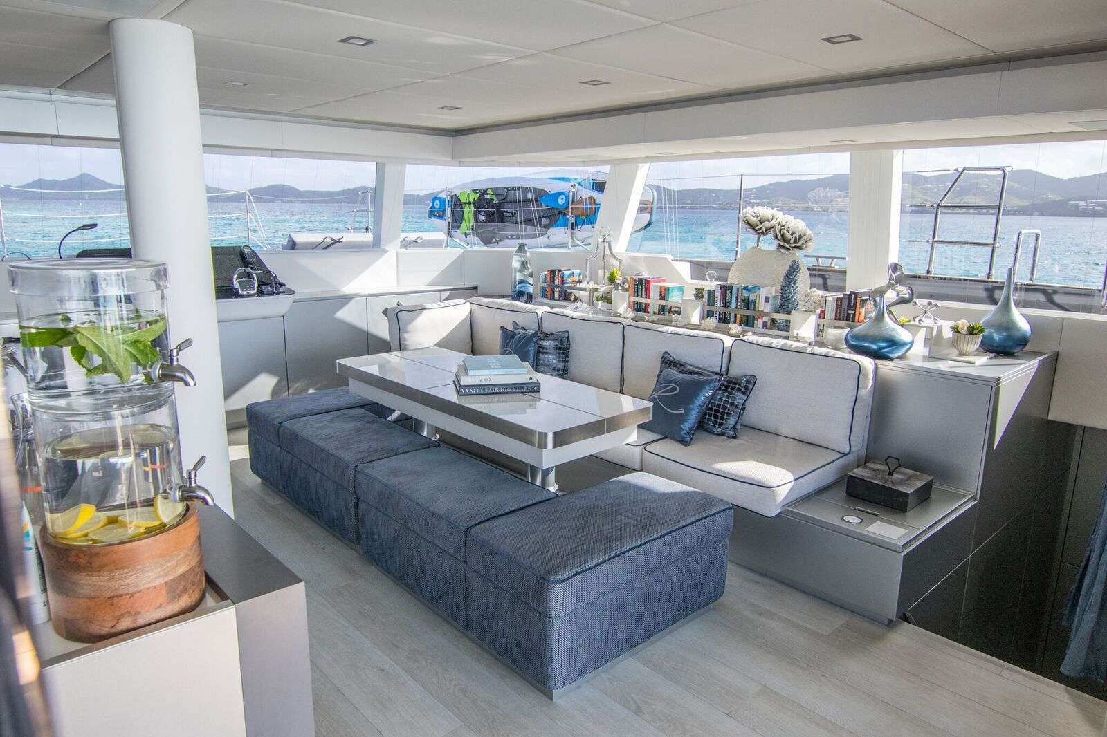 Flybridge with 360 degree views and plenty of shade