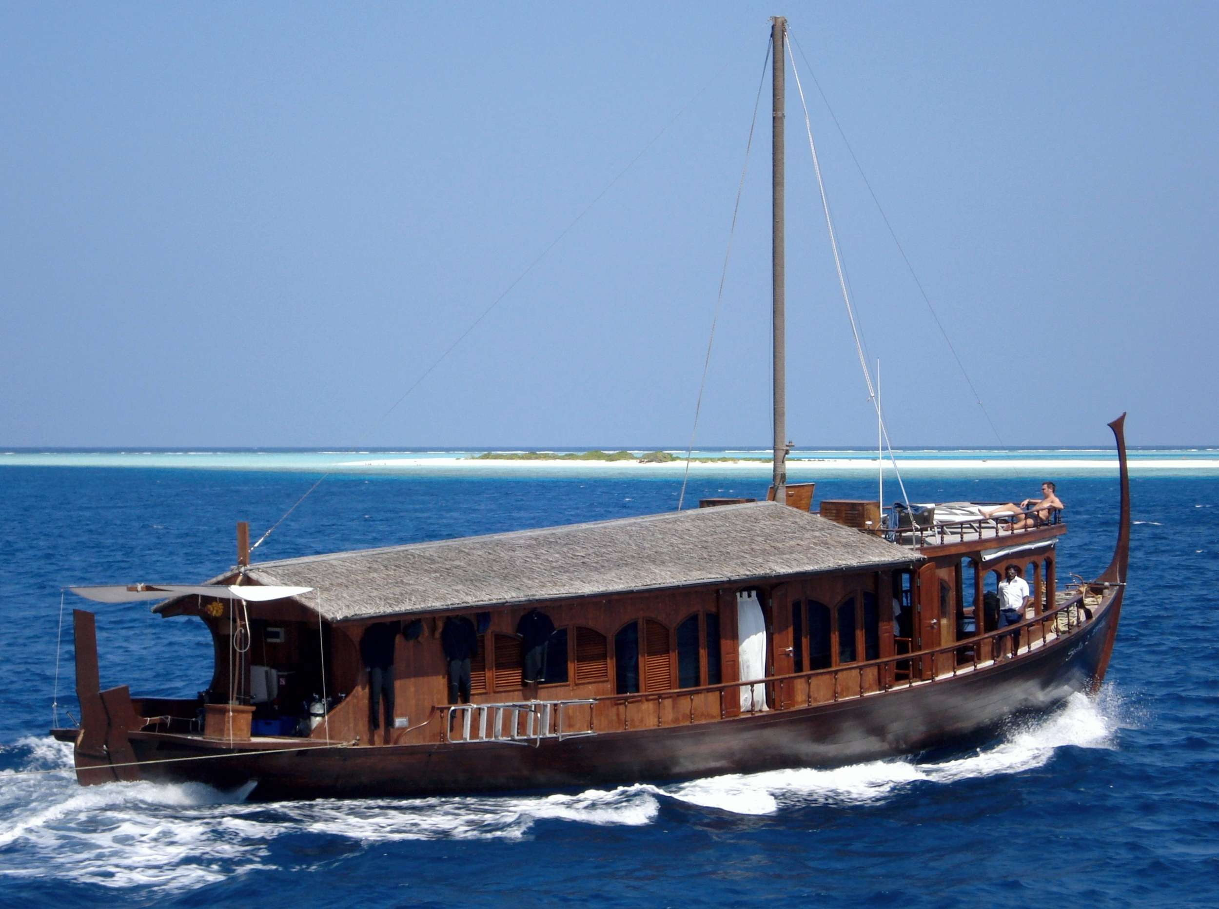 DHONI STELLA I & II are Maldivian luxury dhonies, each with just two air conditioned cabin-suites, catering for 2-6 passengers and available for private charter only. Maldives enthusiasts will experience a really unique holiday, sailing the archipelago with their family or with another couple aboard a genuine and charming traditional boat. DHONI STELLA yachts are wonderful combinations of classic and modern style. Built by using mainly local wood, the finishing touches bring you back to a time of simplicity and elegance, nostalgic of the antique boats on which these cruisers were modeled; though the modern comforts of holiday luxury have certainly not been forgotten. Setting ourselves apart from the other cruisers available in the archipelago, where passengers share the boat with other tourists and follow a pre-planned program, DHONI STELLA guests are free to design their own cruise. You choose the destinations and activities that suit you, including: scuba diving, surfing, snorkeling, fishing, islands hopping and more.
